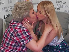 Two horny old and young lesbians licking each other