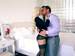 Watch tanned blonde babe Emma Hix peel off her miniskirt and lingerie thong to get her bald pussy licked and fucked